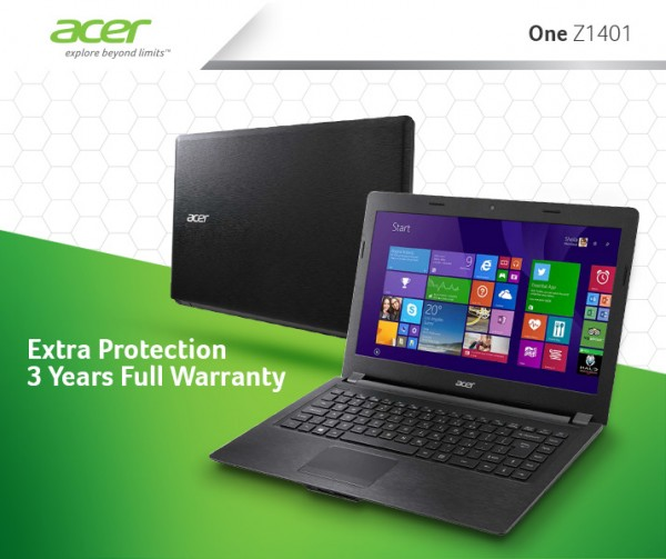 acer One  Z1401 with Win 8 extended warranty