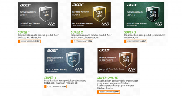 Paket Acer Care Extended Warranty