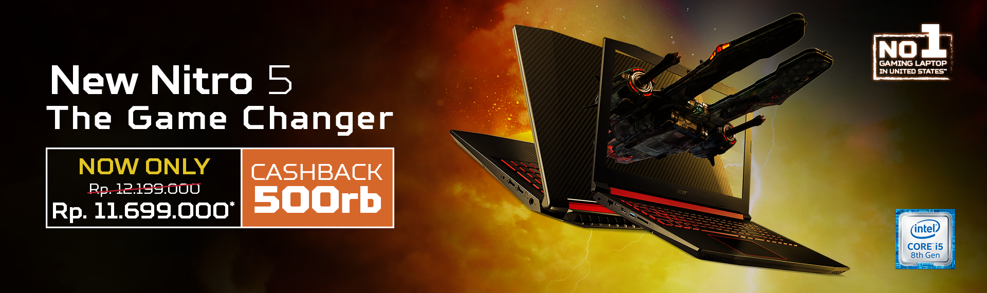 Penawaran Terbaik: Laptop Gaming Nitro 5 (AN515-52) dengan Intel Generasi ke-8!