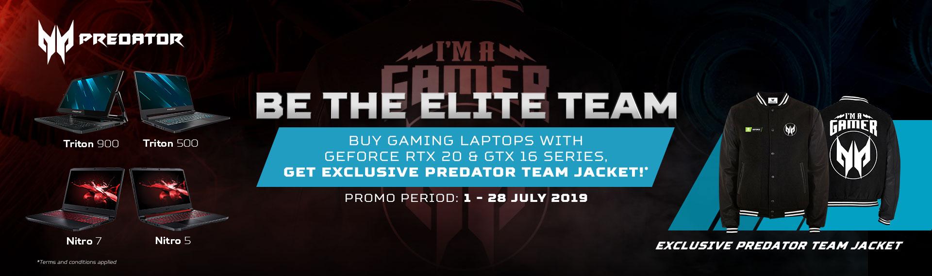 GRATIS Jaket Eksklusif Predator Team untuk Pembelian Gaming Laptop dengan GeForce® RTX 20 dan GTX 16!