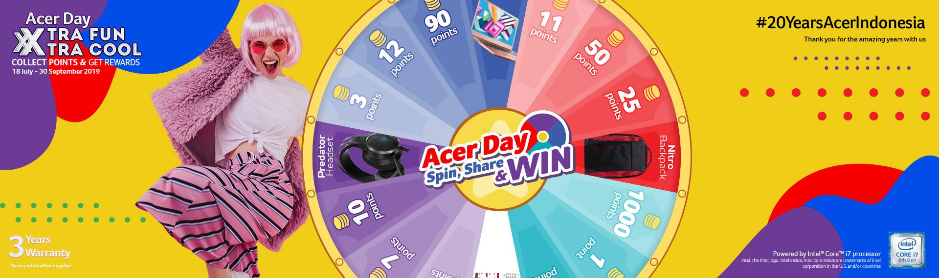 Trik Jitu Kumpulkan Poin Acer Day 2019 di Acer Day Spin, Share & Win!