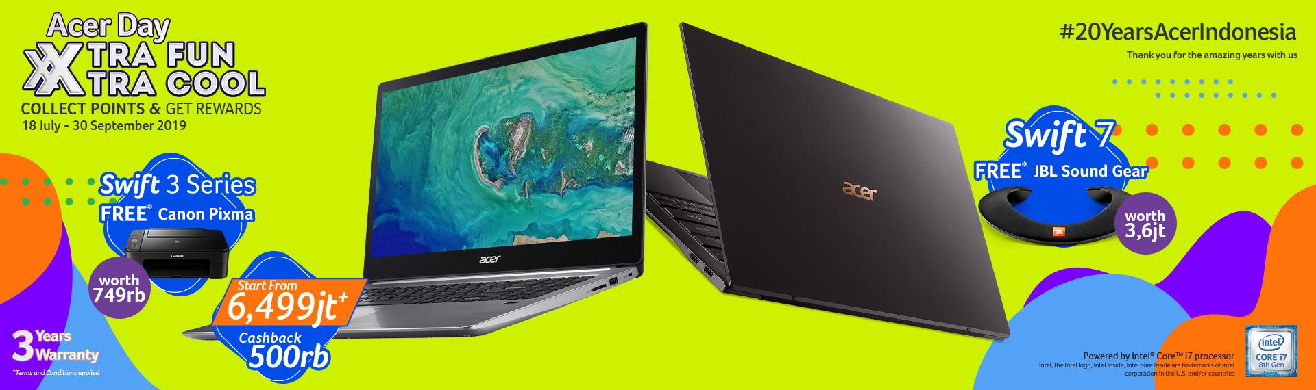 Laptop Tipis Acer Day 2019, Ada Cashback dan Bonus Menarik!