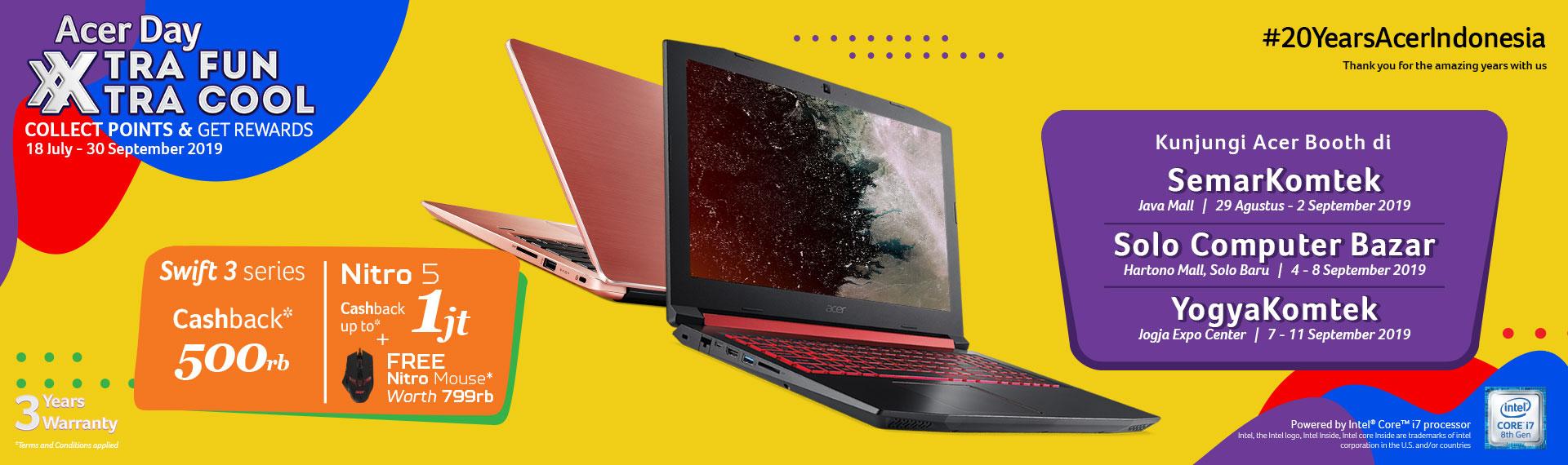 Dapatkan Langsung Promo Spesial Acer Day 2019 di Yogyakomtek, Semarkomtek, serta Solo Computer Bazar!