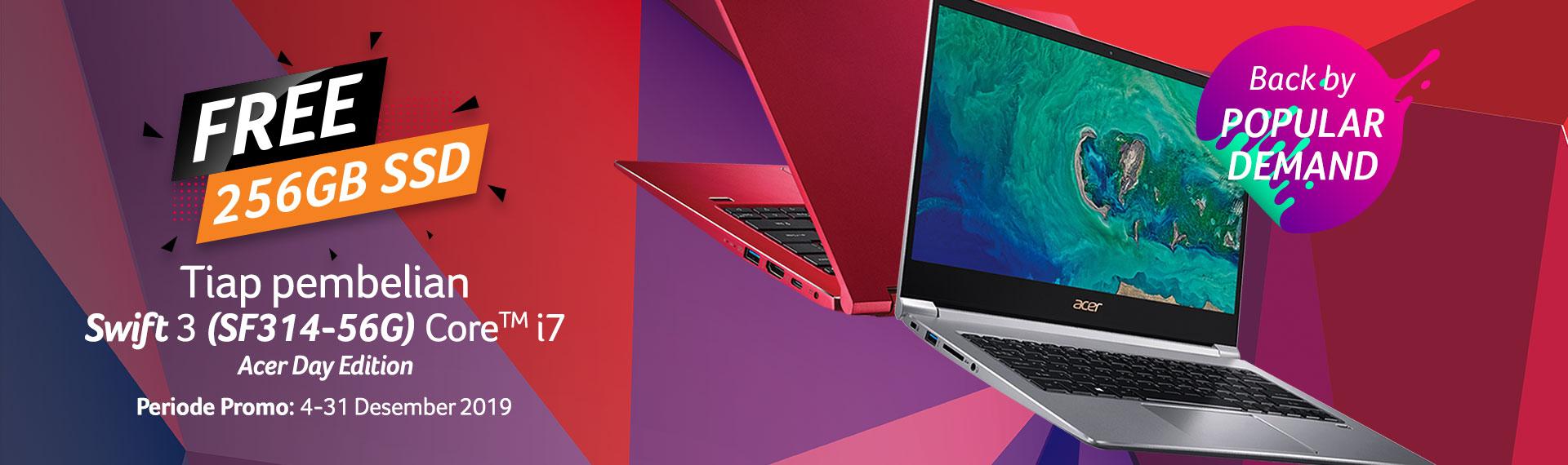 Beli Laptop Swift 3 Acer Day Edition, Dapatkan Bonus SSD 256GB