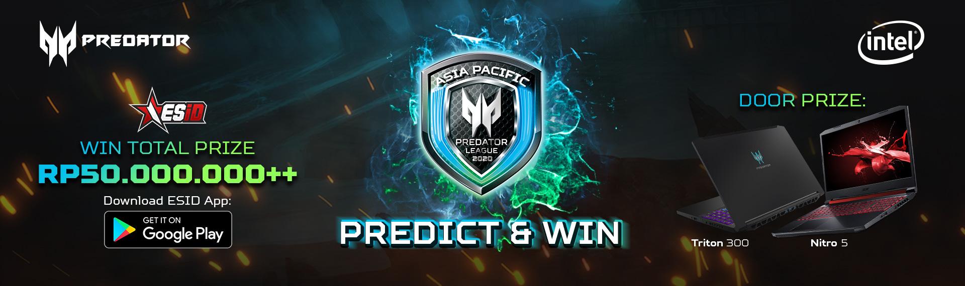 Yuk, Prediksi Pemenang Indonesia Final Predator League 2020 lewat ESID Apps dan Menangkan Hadiah Menarik Sebesar Total Rp50 Juta!