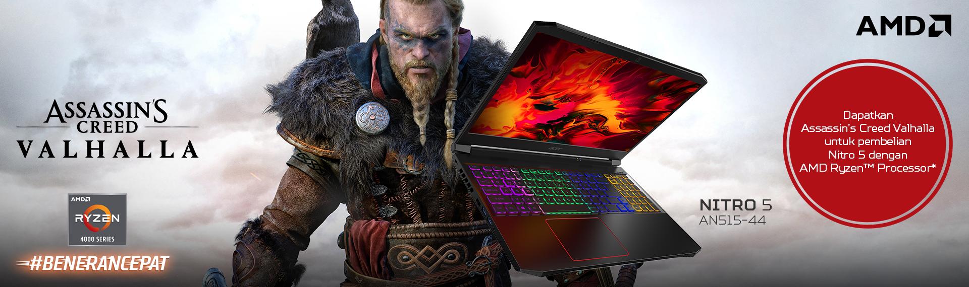 Beli Laptop Nitro 5 Ryzen 4000 dan Dapatkan Free Assassin's Creed® Valhalla!